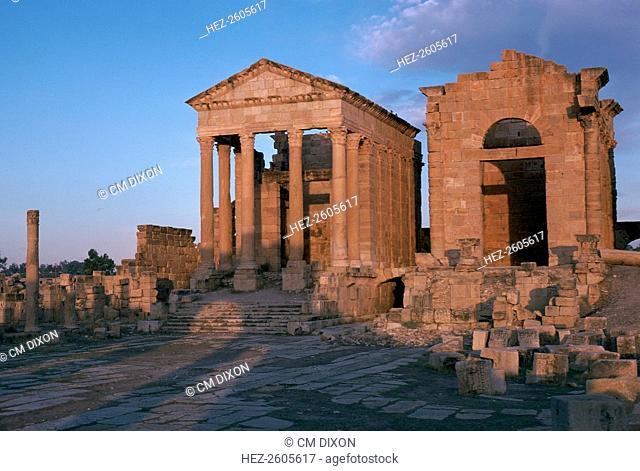 Temples in the forum of Sufetula in Sbeitla, Tunisia, 2nd century