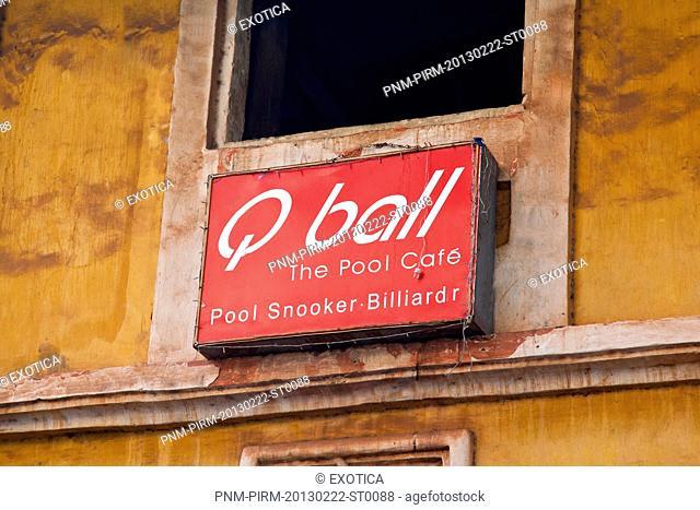 Close-up of a sign board, Q Ball Pool Snooker, Mapusa, North Goa, Goa, India