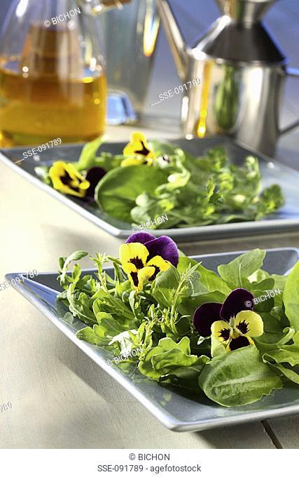 mixed salad shoots and pansies