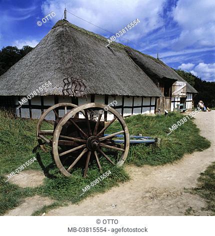 Germany, Schleswig-Holstein, Kiel, Molfsee, Freilichtmuseum, Ridge column barn, carts, Museum, museum terrains, wood carts, buildings old, historically