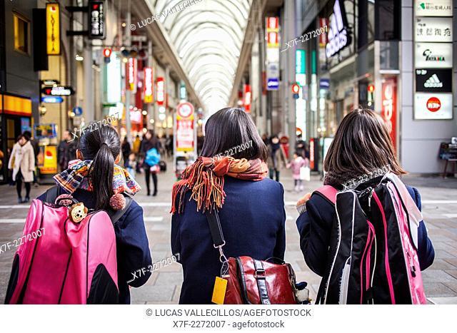 Students, in Hon dori street, shopping covered arcade, Hiroshima, Japan