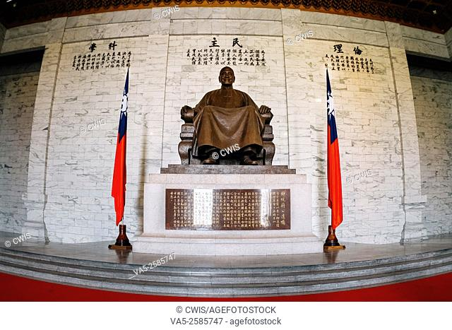 Taipei, Taiwan: The Statue of Chiang-Kai-Shek and the flag of Republic of China in the CKS Memorial Hall