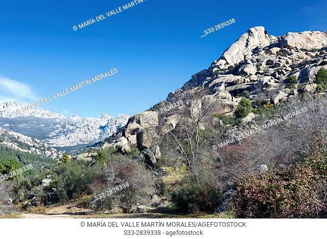 Sirio cliffs in the Pedriza. Regional Park del Ato Manzanares. Manzanares el Real. Madrid. Spain. Europe
