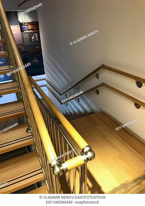 Burgas, Bulgaria - June 10, 2018: Modern Staircase in IKEA Shop. IKEA is a Swedish-founded multinational group, that designs and sells ready-to-assemble...