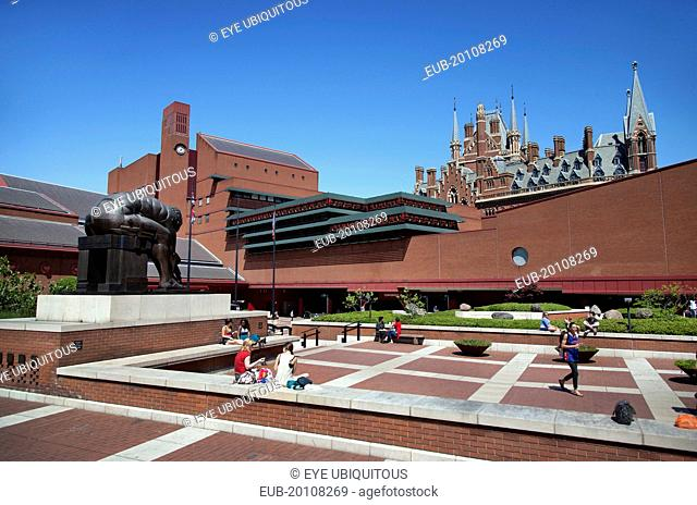 View of the British Library showing Eduardo Paolozz sculpture Euston Road
