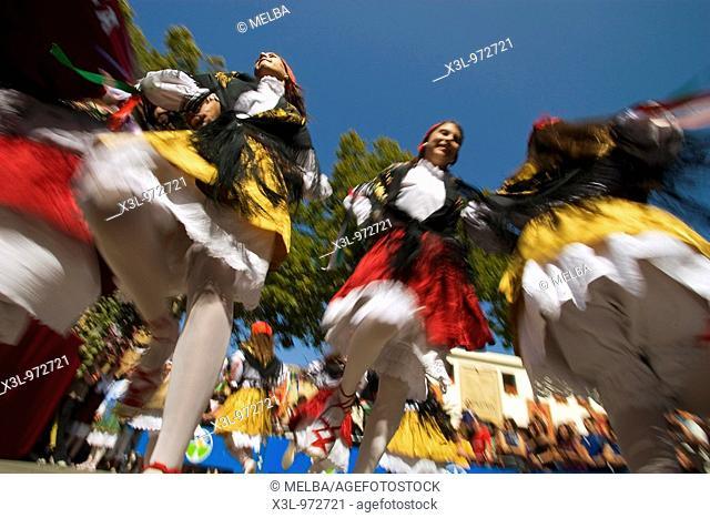 Dantzaris in grape harvest festival  Alava  Basque country  Spain