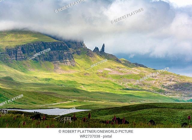 United Kingdom, Scotland, Highlands, Isle of Skye, Portree, At Old Man of Storr, Trotternish