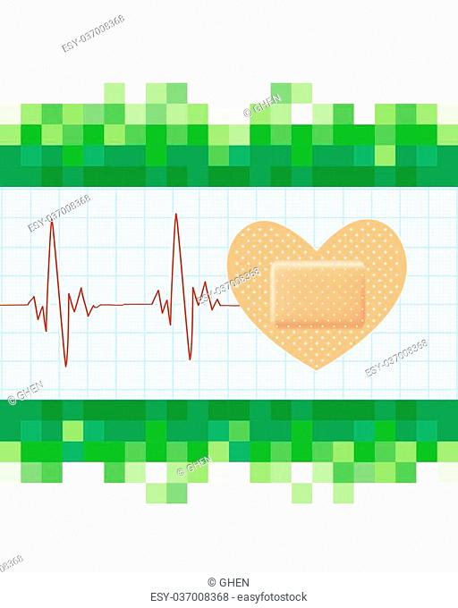 Heart shape medical plaster and cardiogram on mosaic green background. Conceptual healthcare illustration with heart adhesive bandage. vector