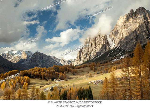 Autumn afternoon on an alpine meadow near Cortina d'Ampezzo, Dolomites, Italy
