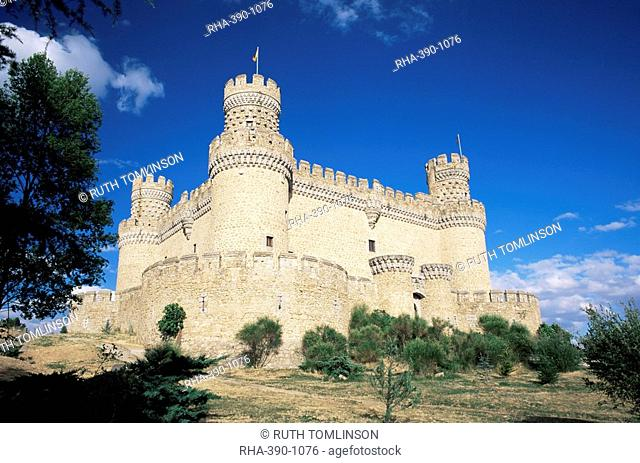 Castle of Manzanares el Rel, dating from the 15th century, near Madrid, Spain, Europe