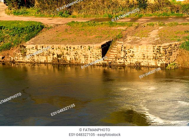 Old Quayside on the River Wye, Brockweir, Gloucestershire, England, United Kingdom