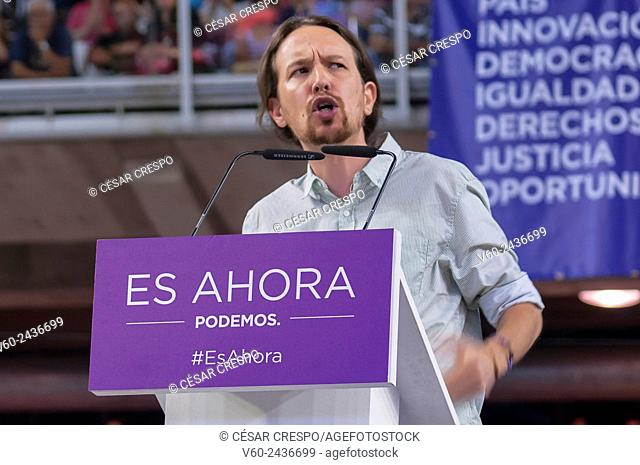 -Meeting of Pablo Iglesias, Leader of Podemos Party- Alicante, May 2015 (Spain)