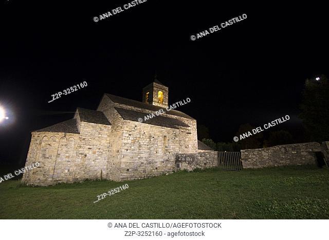 San Felix de Barruera church by night Boi valley Catalonia Spain