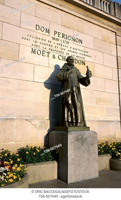 Dom Perignon statue in city of Epernay, Champagne district, France