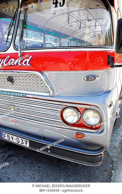 Old Leyland autobus, bus station in Victoria or Rabat, Island of Gozo, Malta, Mediterranean, Europe