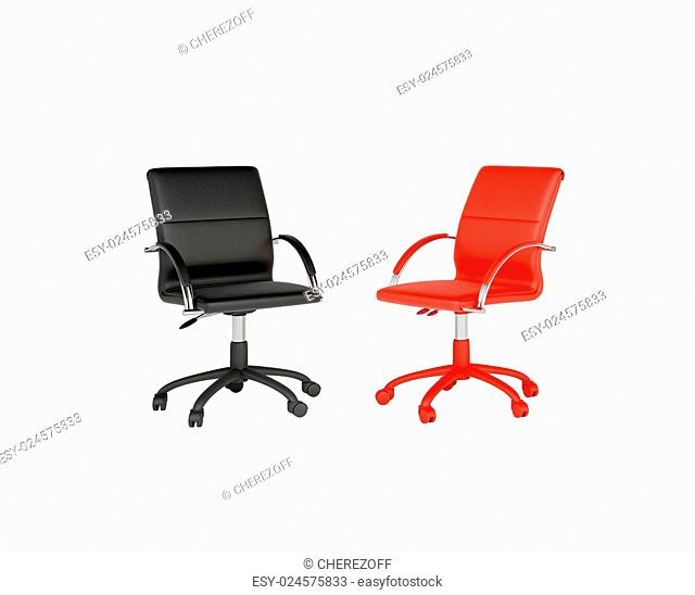 Two office chairs isolated on white background. Black and red chair. The concept of dialogue