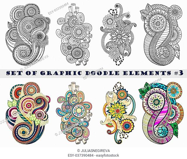 Set of Henna Paisley Mehndi Doodles Abstract Floral Vector Illustration Design Element. Black and White plus Colored Version