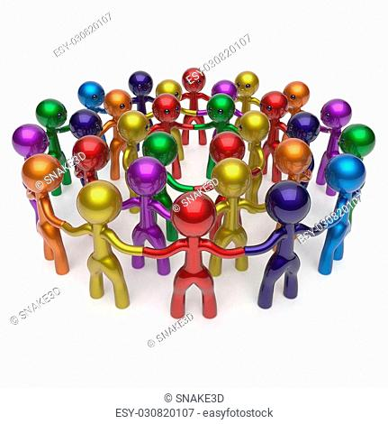 Men crowd social network worldwide large circle characters group people teamwork friendship individuality team different cartoon friends corporate human unity...