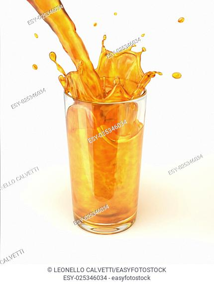 Orange juice pouring into a glass, forming a splash. On white background, with clipping path