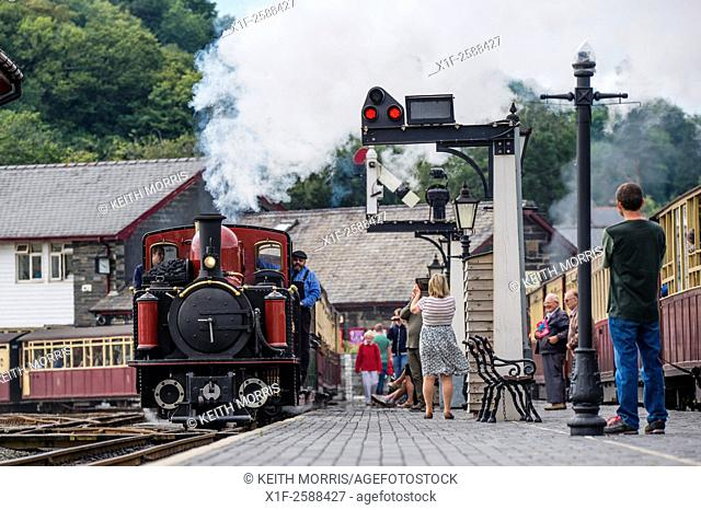 The Great Little trains of Wales : Ffestiniog (left) and Welsh Highland (right) narrow guage railways, at the shared Porthmadog Station, Gwynedd Wales UK