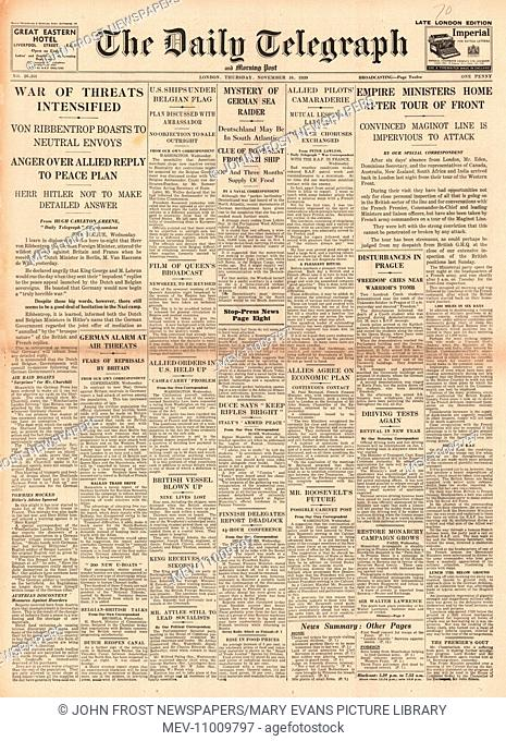 1939 Daily Telegraph front page reporting German threat intensifies in a speech by Foreign Minister Joachim von Ribbentrop. 16th November 1939 issue