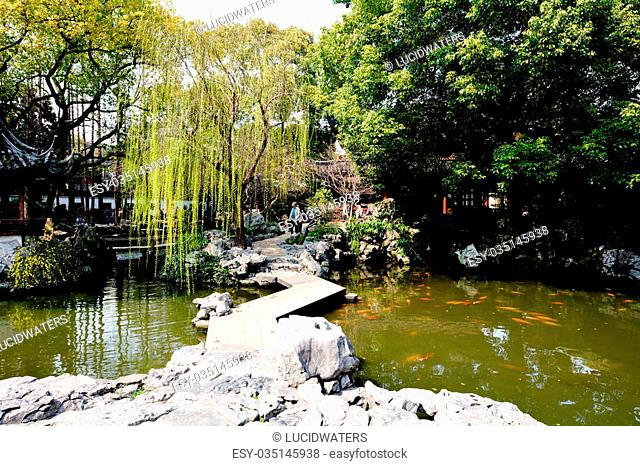 SHANGHAI, CN - MAR 15 2015: Yu Garden in Shanghai, China.Yu Garden occupies an area of 2 hectares (5 acres), and is divided into six general areas laid out in...