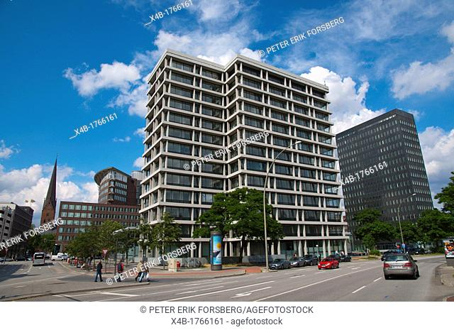 Corner of Brandstwiete and Dovenfleet streets Kontorhausviertel the office building district central Hamburg Germany Europe