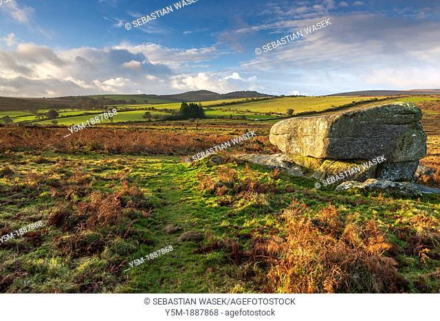 Granite rocks on the moorland at Hayne Down overlooking rolling countryside in Dartmoor National Park