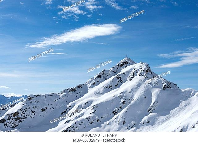 Austria, Montafon, skiing area Silvretta Montafon, Zamang point (2386 m)