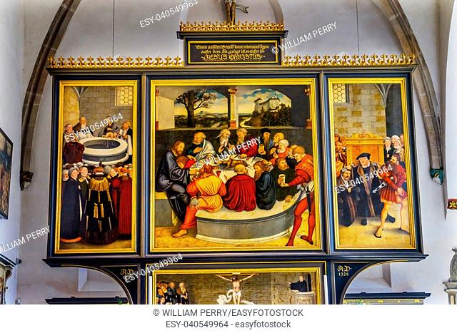 Saint Mary's City Church Stadtkirche Lutherstadt Wittenberg Germany. Martin Luther's church. Founded in 1187. Last Supper Painting Altarpiece Cranach Elder...