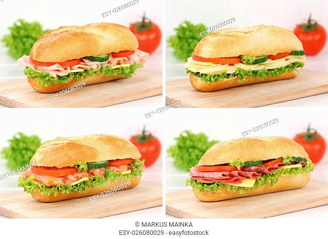 collage of sub sandwiches baguettes for breakfast topped with salami ham,fish,cheese,lettuce and tomato