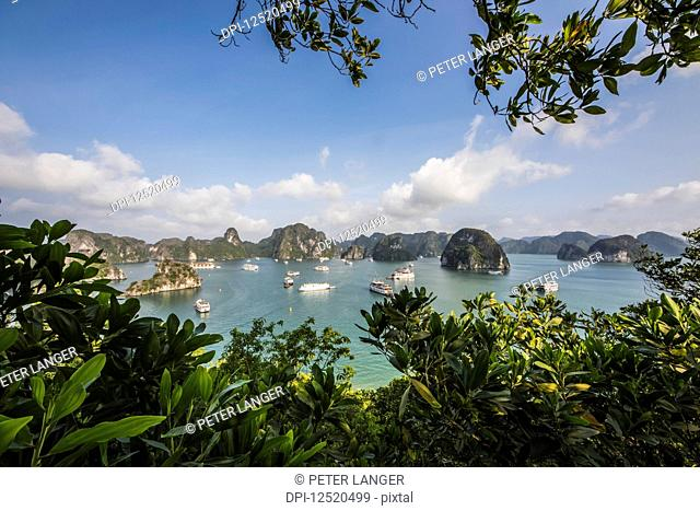 View of the limestone karsts and isles of Ha Long Bay, as seen from Titov Island; Quang Ninh, Vietnam