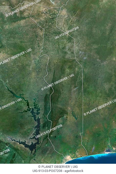 Satellite view of Togo (with country boundaries). This image was compiled from data acquired by Landsat satellites
