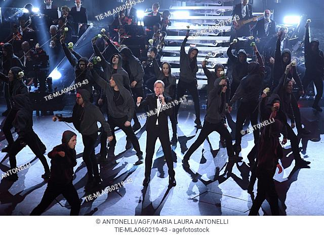 Claudio Baglioni and the dancers during Sanremo second evening. 69th Festival of the Italian Song. Sanremo, Italy 06 Febr 2019