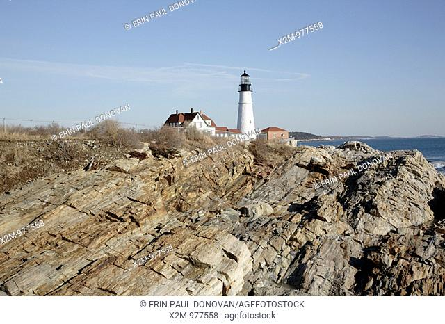 Portland Head Light at Fort Williams Park during the winter months  Located in Cape Elizabeth, Maine USA, which is part of the New England seacoast  Notes:...