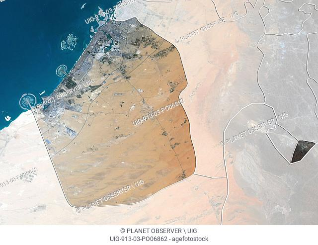 Satellite view of the Emirate of Dubai, United Arab Emirates (with country boundaries and mask). The image shows Palm Jebel Ali