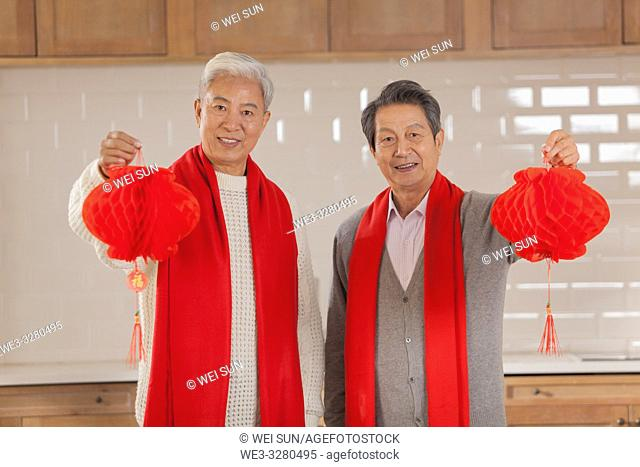 Chinese old men celebrate the Spring Festival