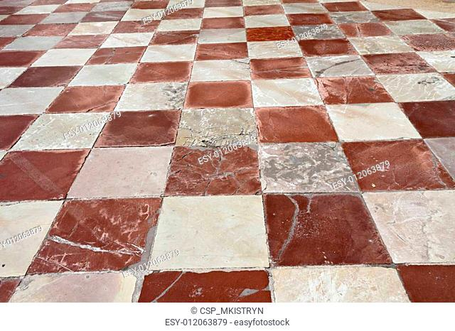 antique marble checkered pavement