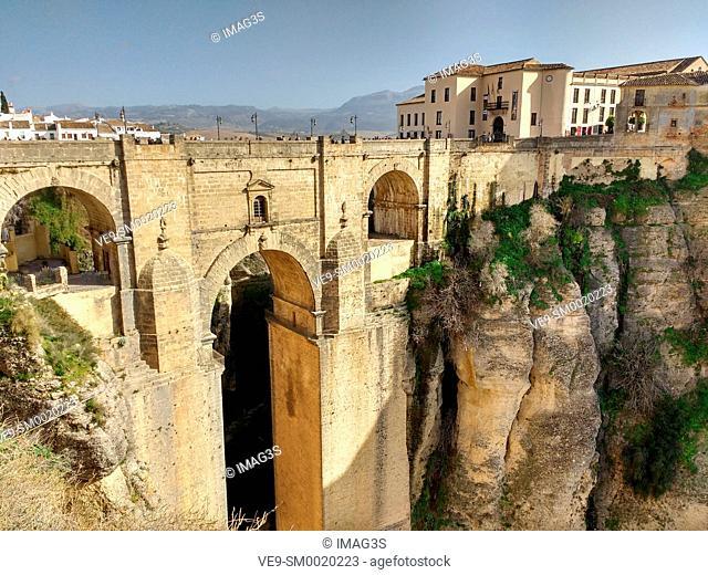 The Puente Nuevo bridge over Guadalevín River in El Tajo gorge, Ronda, Malaga province, Andalusia, Spain, Europe