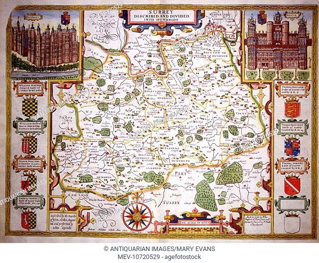 17th century Map of Surrey, England