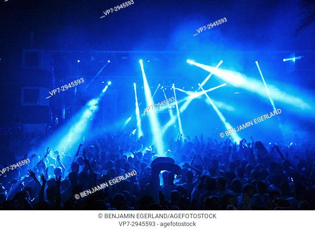 party lights at music festival Starbeach on 17. July 2017 with Afrojack and Hardwell in Hersonissos, Crete, Greece, beach flirt dress in white party
