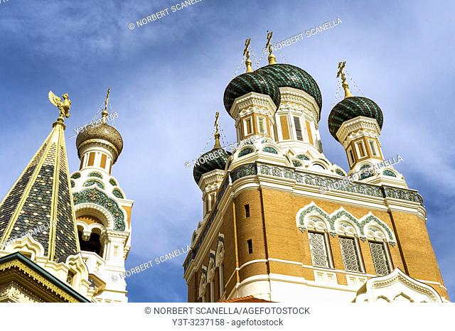 France. Alpes-Maritimes (06) Nice. The Russian Orthodox Cathedral Saint Nicolas (opened in 1912)