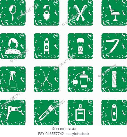 Hairdressing icons set in grunge style green isolated vector illustration