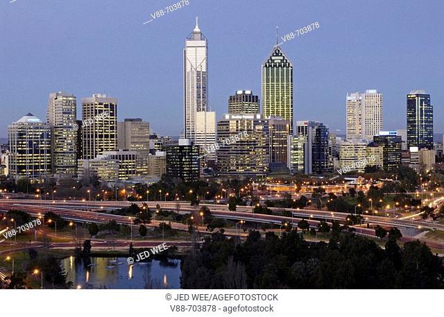 Perth skyline at twilight, Western Australia, Australia