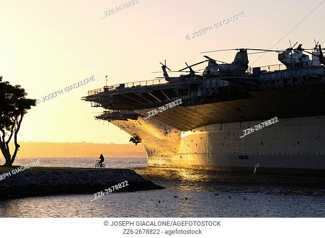 San Diego Harbor, sunset, ship. San Diego, California