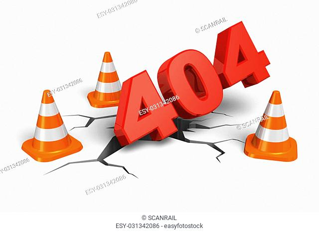404 webpage error concept isolated on white background