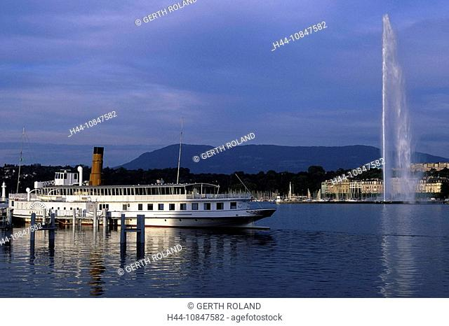 Switzerland, Europe, Geneva city, Lake Geneva, water, town, city, steamboat, jet, d'eau, fountain, lake, steamer, ship