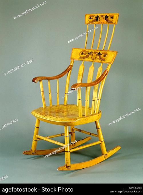 Rocking Chair. Maker: Hudson and Brooks (active ca. 1823); Date: ca. 1823; Geography: Made in Portland, Maine, United States; Culture: American; Medium: Maple