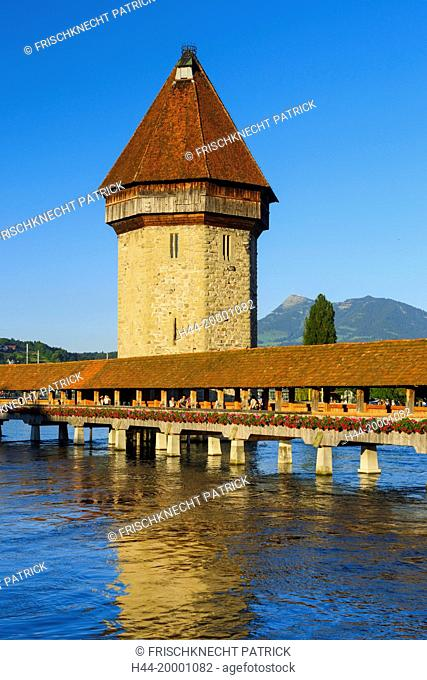 Chapel bridge with Rigi, Lucerne, Switzerland