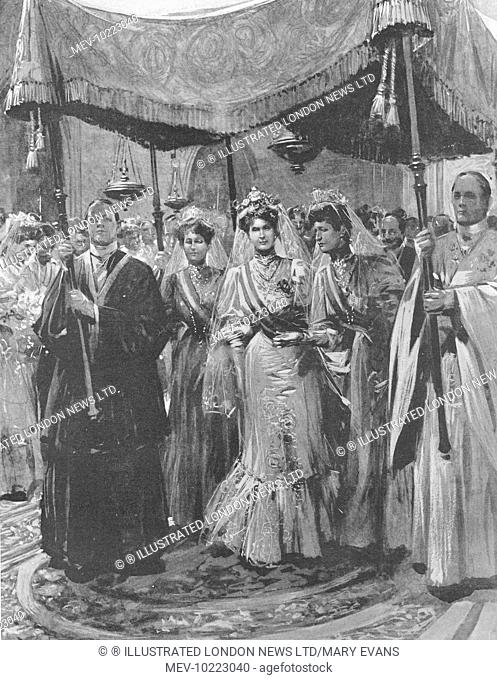 Illustration showing Princess Ena of Battenberg (1887-1969) entering the Church of San Geronimo in Madrid, under a canopy accompanied by her mother Princess...